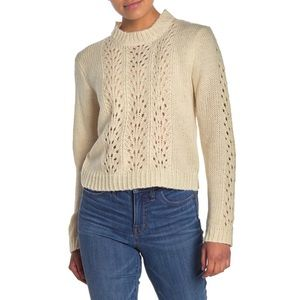 Woven Heart Open Stitch Pullover Sweater NWT